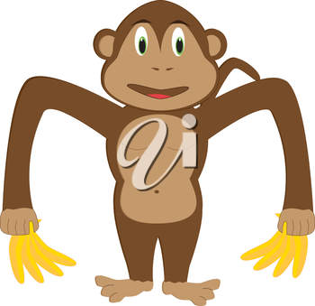 Royalty Free Clipart Image of a monkey making the letter 'M'