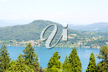 in italy landscape panorama of lake and mountain hill beautiful destination