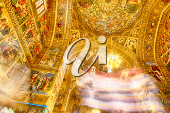 blur  in iran the old      cathedral and traditional gold wall painted