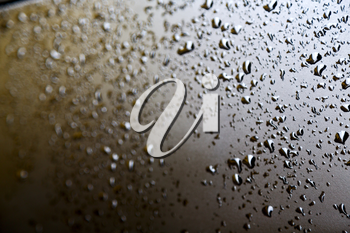 in a car after the rain some drops of water blurred like concept of wet