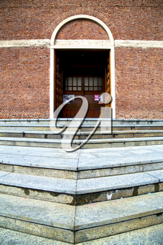 cardano campo italy   church  varese  the old door entrance and mosaic sunny daY