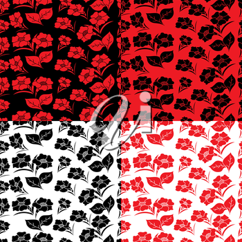 Four identical seamless floral patterns in different colors, hand drawing vector illustration