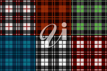 Six seamless checkered vector tartan patterns with different tinctures