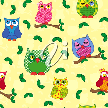 Seamless vector pattern with colorful ornamental owls on a light yellow background