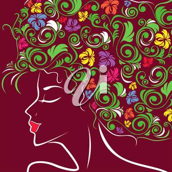 Beautiful women head profile with colourful floral hair over claret, hand drawing vector illustration