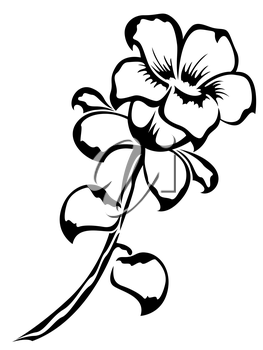 Black outline of single flower isolated on a white background, vector illustration