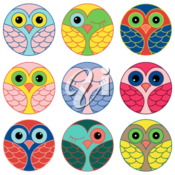 Set of nine funny colored owl faces placed in a circles and isolated on a white background, cartoon vector illustration as icons