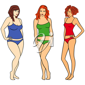 Females with different weight and figures isolated over white, hand drawing colourful vector illustration