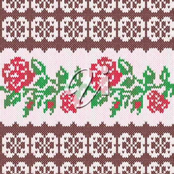 Knitted Ornamental Seamless Vector Pattern as a fabric texture with stylish Red Roses and green leaves