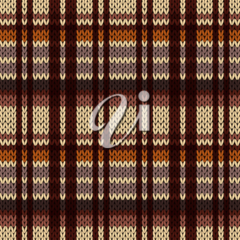 Knitting seamless vector pattern with perpendicular lines as a knitted fabric texture in brown, beige and coffee hues