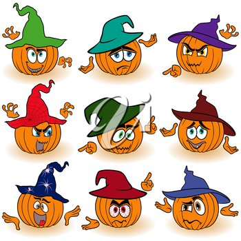 Set of nine Halloween orange pumpkins in color hats that gesticulate with hands isolated on the white background, cartoon vector illustrations