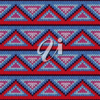 Knitted geometric background with colourful triangle ornament in red, blue, pink and magenta hues, seamless knitting vector pattern as a fabric texture