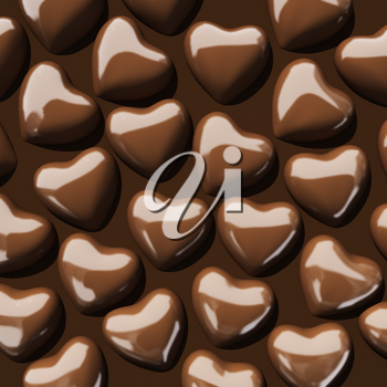 Chocolate valentine's hearts. 3d render with HDR