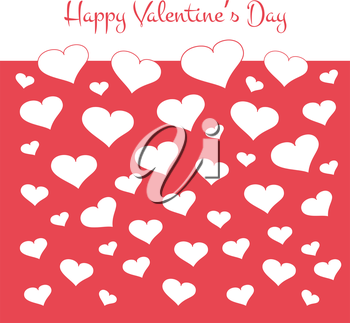 Simple valentines card with white hearts on red background. Vector illustration