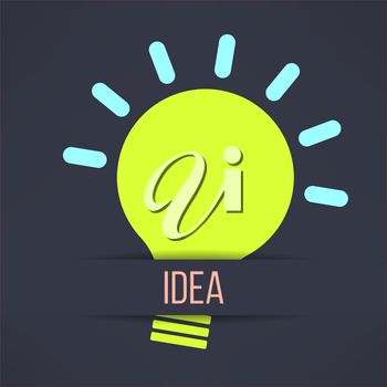 Light bulb inspirational background in modern simple design. Creativity and idea concept. Vector illustration