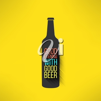 Vector beer bottle design background with a cool slogan in modern flat design. Bar poster with long shadow.