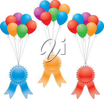 vector award ribbons and balloons (without gradinent mesh)