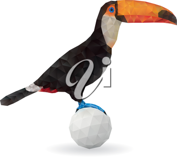 Cute Toucan Sitting on a Ball. Vector Illustration on Low Poly Style