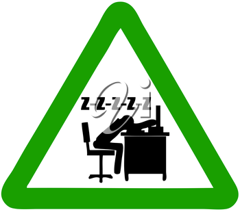 Royalty Free Clipart Image of a Sleeping Office Worker Sign