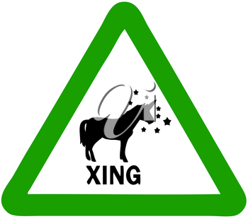 Royalty Free Clipart Image of a Unicorn Crossing Sign