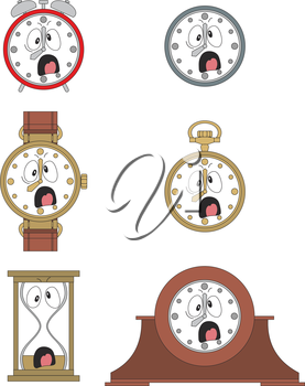 Cartoon screaming clock or watch face smiles illustration 09