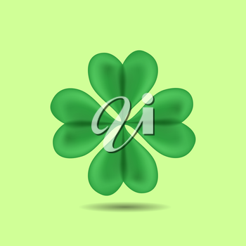 Green Four-Leaf Clover. Patrick day. vector illustration