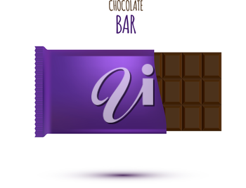 Chocolate Bar isolated on white background. Vector illustration