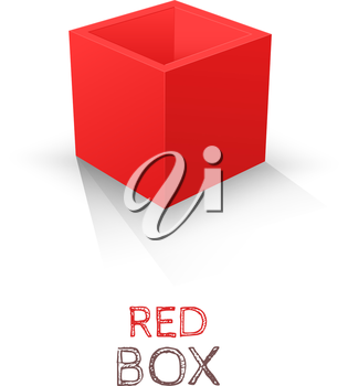 Red Box isolated on white background. Vector illustration