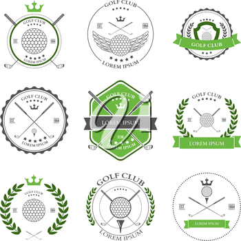 Golf labels and icons set. Vector illustration