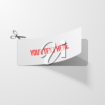 Coupon witn Cutline and Scissors Sign Vector illustration