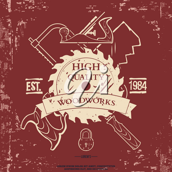 Crossed Hand Tools Illustration with Grunge Effect. Vector illustration