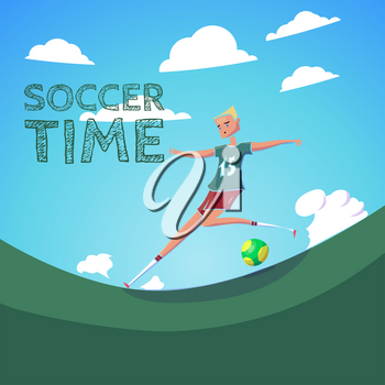 Hand Drawn Cartoon Running Soccer Player with Ball. Vector Illustration