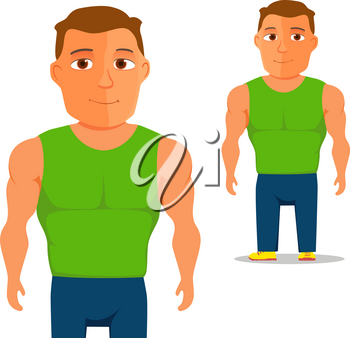 Man in green singlet Cartoon Character. Vector illustration
