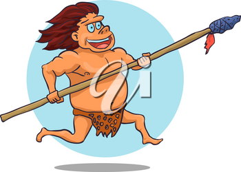 Cartoon Male Caveman Character with spear. Vector illustration