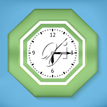 Green analog wall clock with blue background