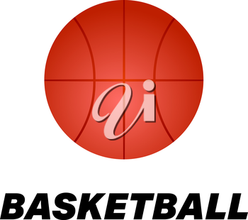 Realistic basketball icon. Logo.  Red color vector illustration