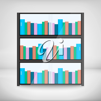 Shelves with colorful books in flat design style.