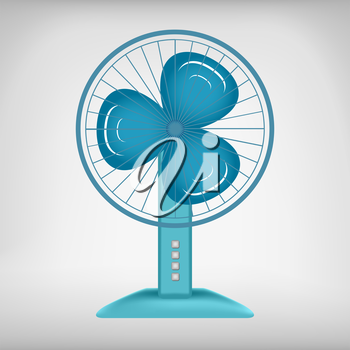 Blue wave colored electric fan vector image. Cooling system