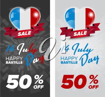 Happy Bastille Day banners set with France flag in heart