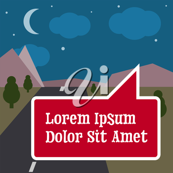 Nature landscape, travelling illustration with text sign