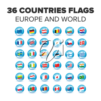 Countries flags set in bubbles with europe, asia and america