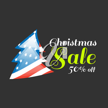 Christmas sale banner with USA flag on black background