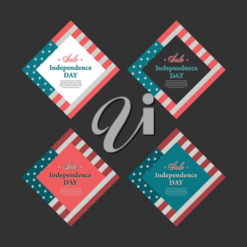 Independence day banner in vintage style with usa flag