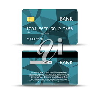 Templates of credit card design with an abstract background, Isolated vector