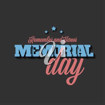 Vintage style Memorial day vector banner with American flag