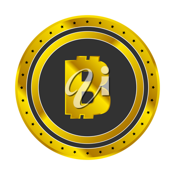 Golden bitcoin cryptocurrency icon design on white background
