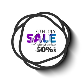 4th July sale banner. Black shapes Vector badge with white background