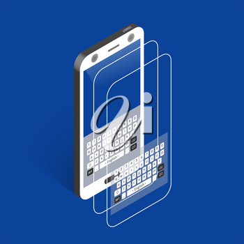 White isometric smartphone with keypad and reflections, right view