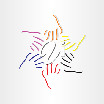 human hands all races abstract icon design