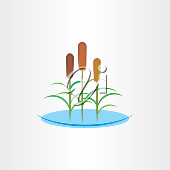 cattails clip art vector illustration icon reed